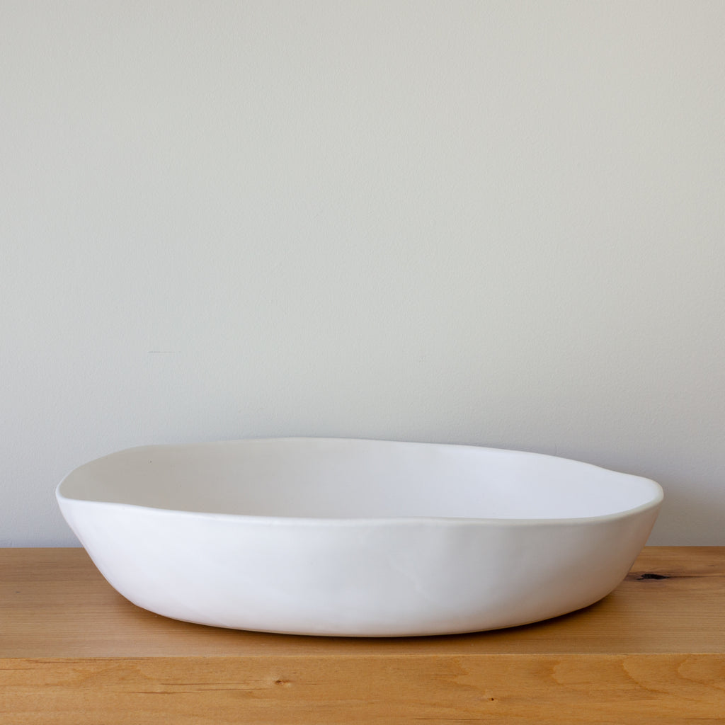 "Alex Marshall 15"" Low Bowl - Matte White"