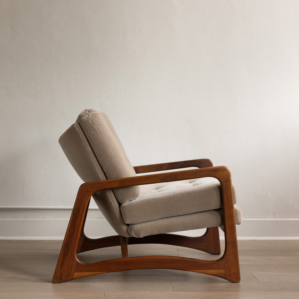 Adrian Pearsall Taupe Mohair and Walnut Lounge chair