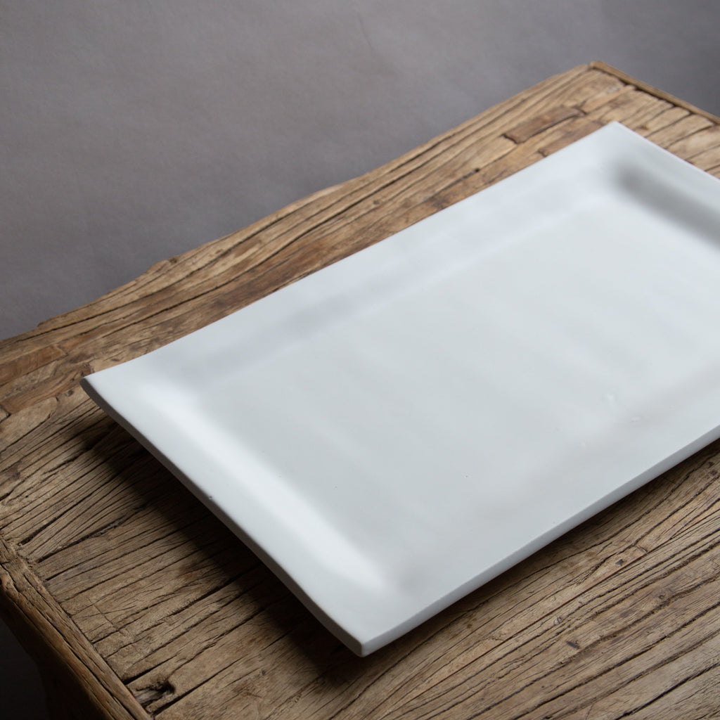 Alex Marshall Large Rectangle Platter - Matte White