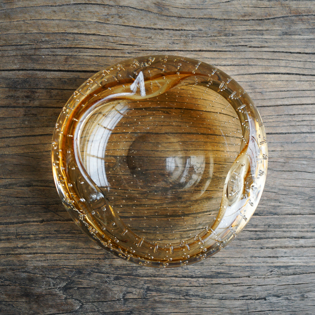 Mid Century Glass Vessel - Amber