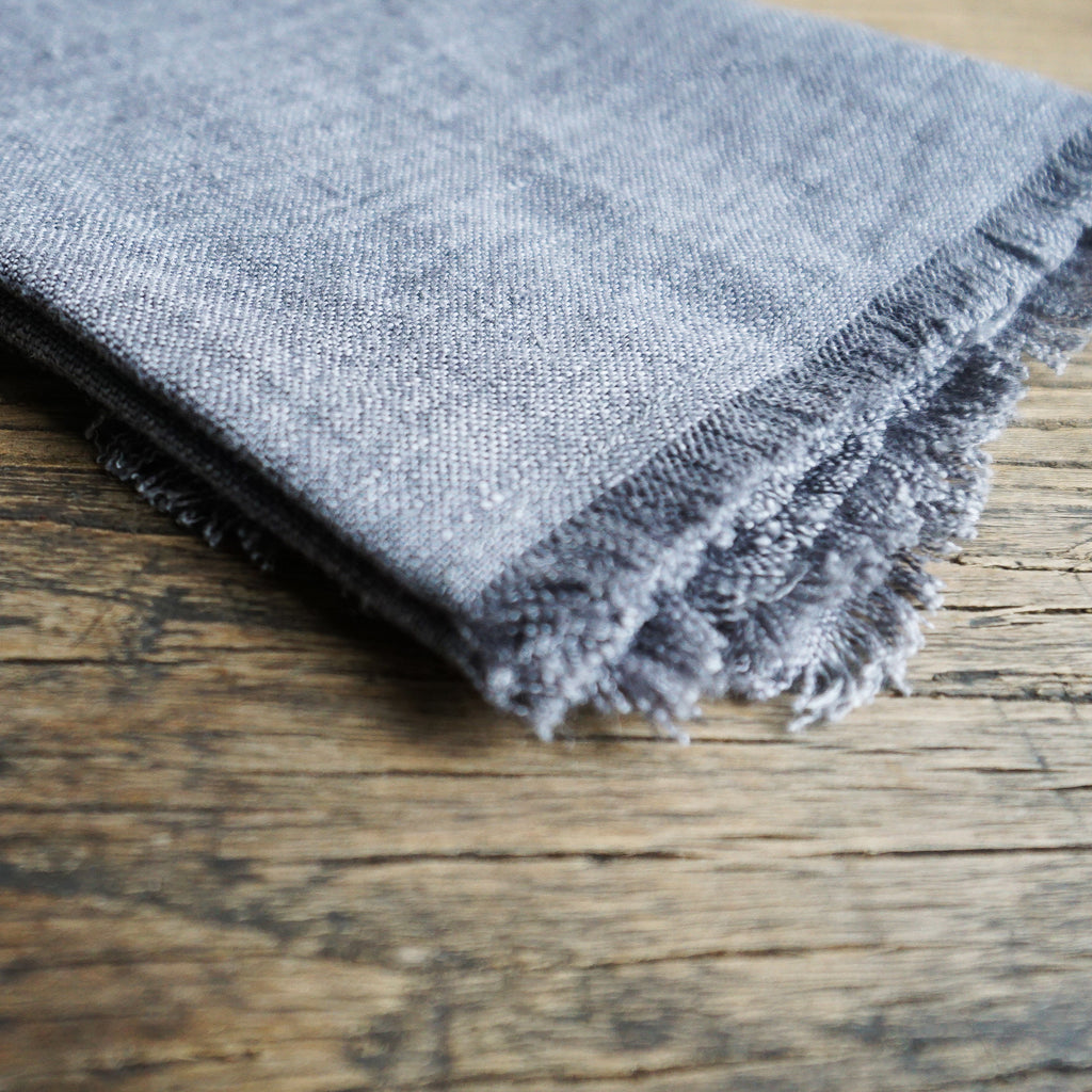 Stone Washed Linen Cocktail Napkin - Grey