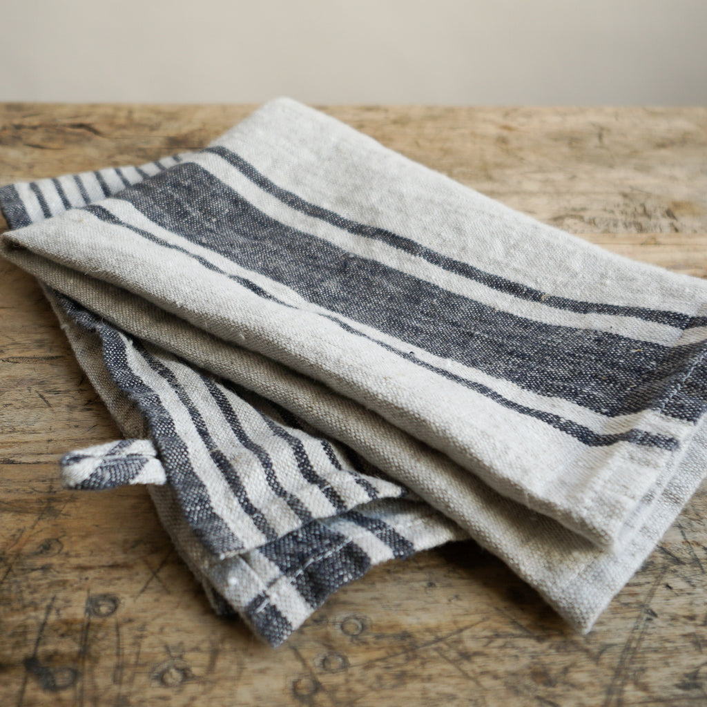 Linen Tea Towel - Black Multi Stripe