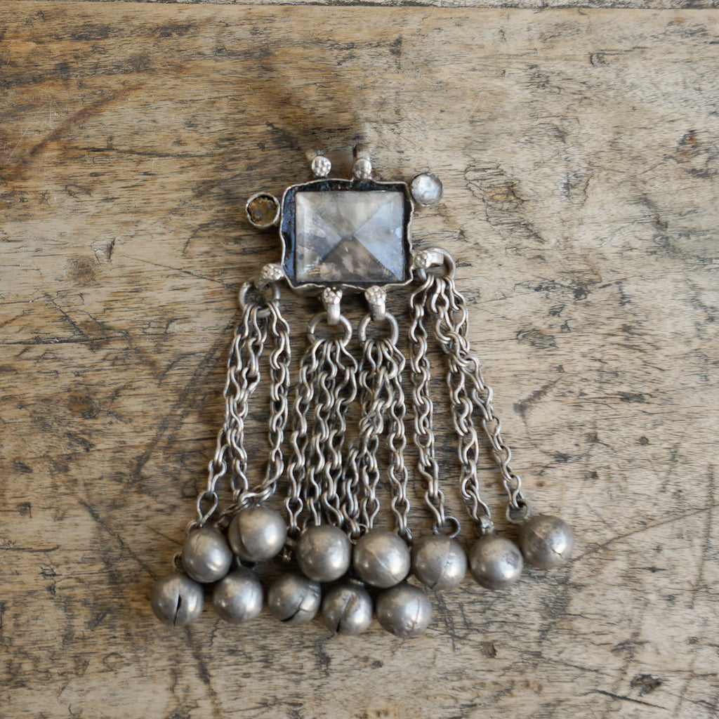 Vintage Silver Pendant with Glass