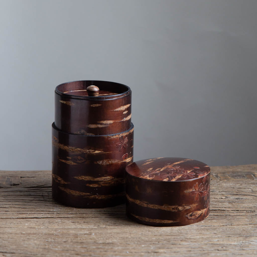 Tall Cherry Bark Box Cylinder