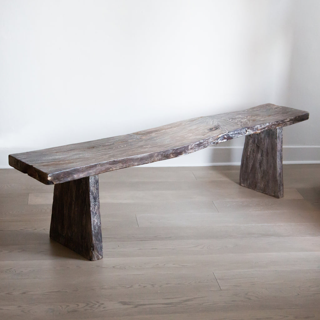 Balinese Elm Bench with Dark Cerused Finish