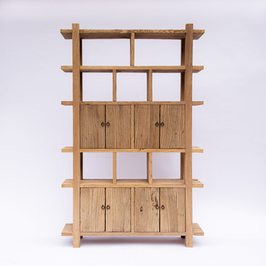 Japanese Reclaimed Elm Wood Bookcase with Doors