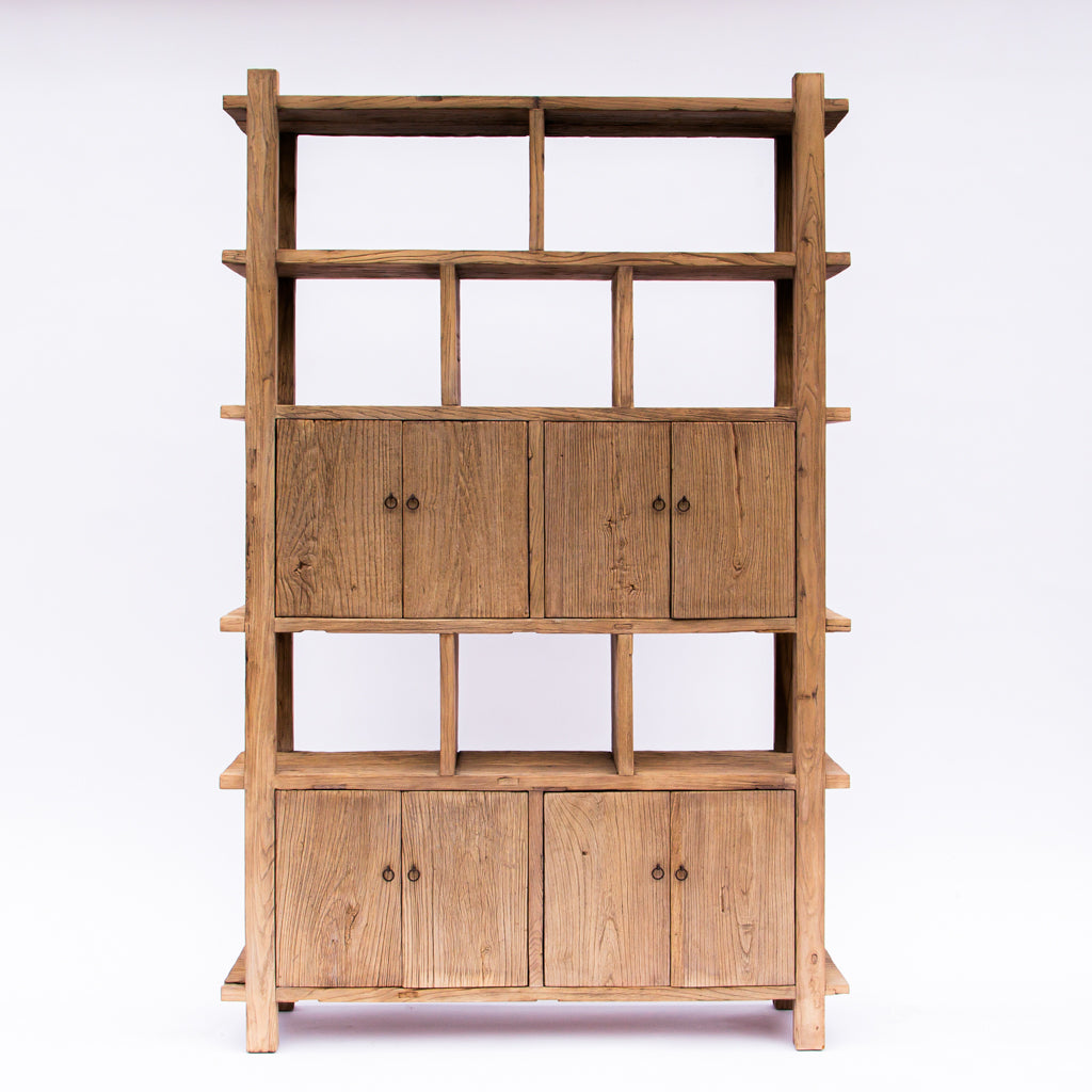 Japanese Reclaimed Elm Wood Bookcase