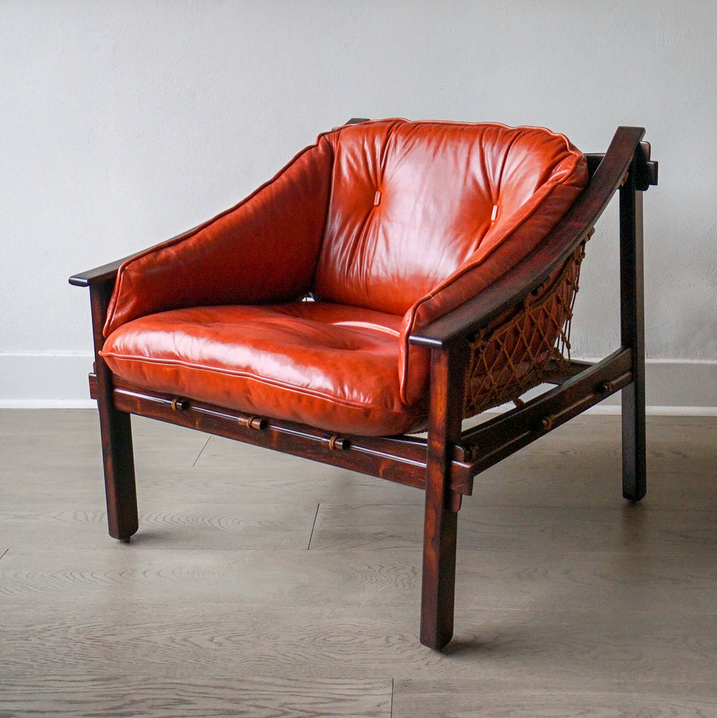 Exotic Jacaranda and Leather Brazilian Lounge Chair by Jean Gillon circa 1960