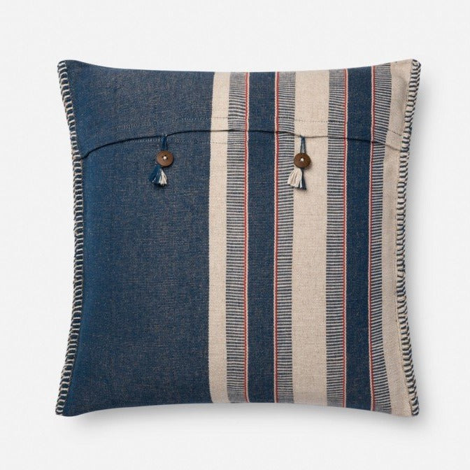 Indigo/Natural Striped Pillow - Large