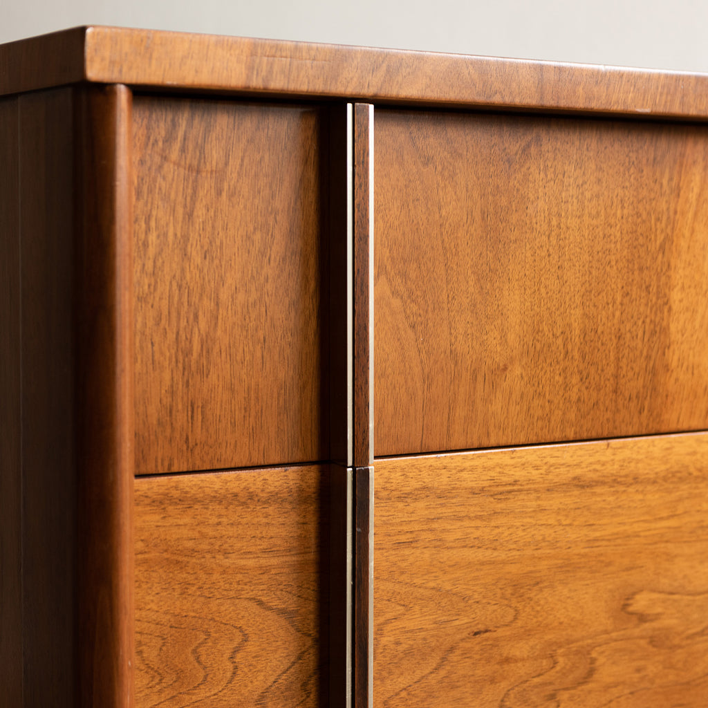Widdicomb Walnut Cabinets with Brass Details - c. 1970