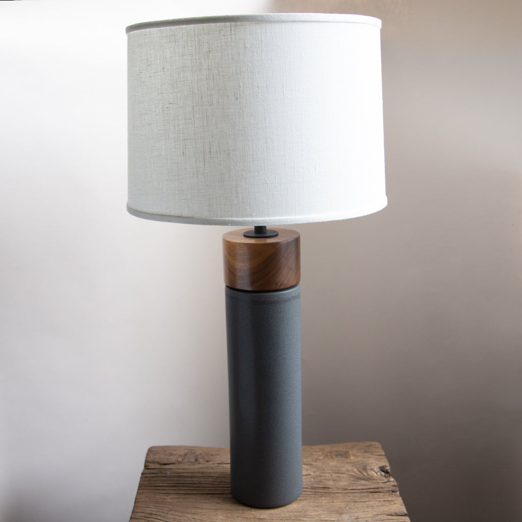 Stone and Sawyer Hancock Lamp in Navy with Walnut Cap