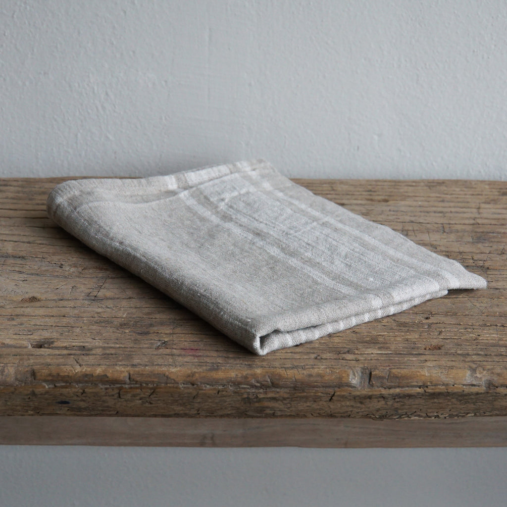 Linen Tea Towel - Natural Striped