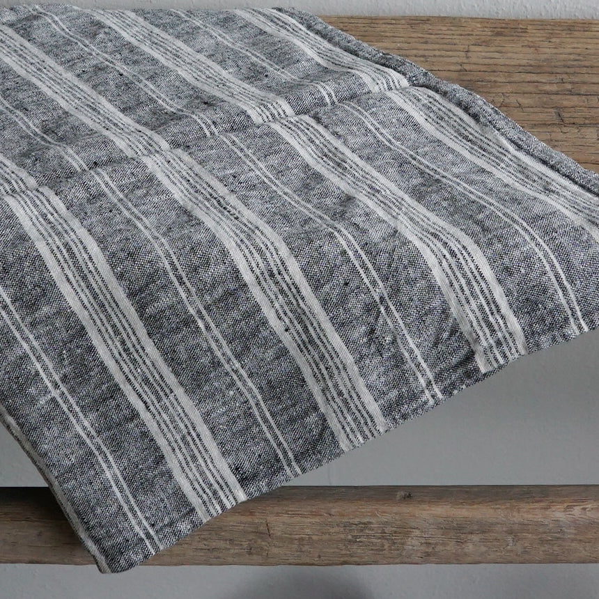 Linen Tea Towel -  Heather Black with Stripes