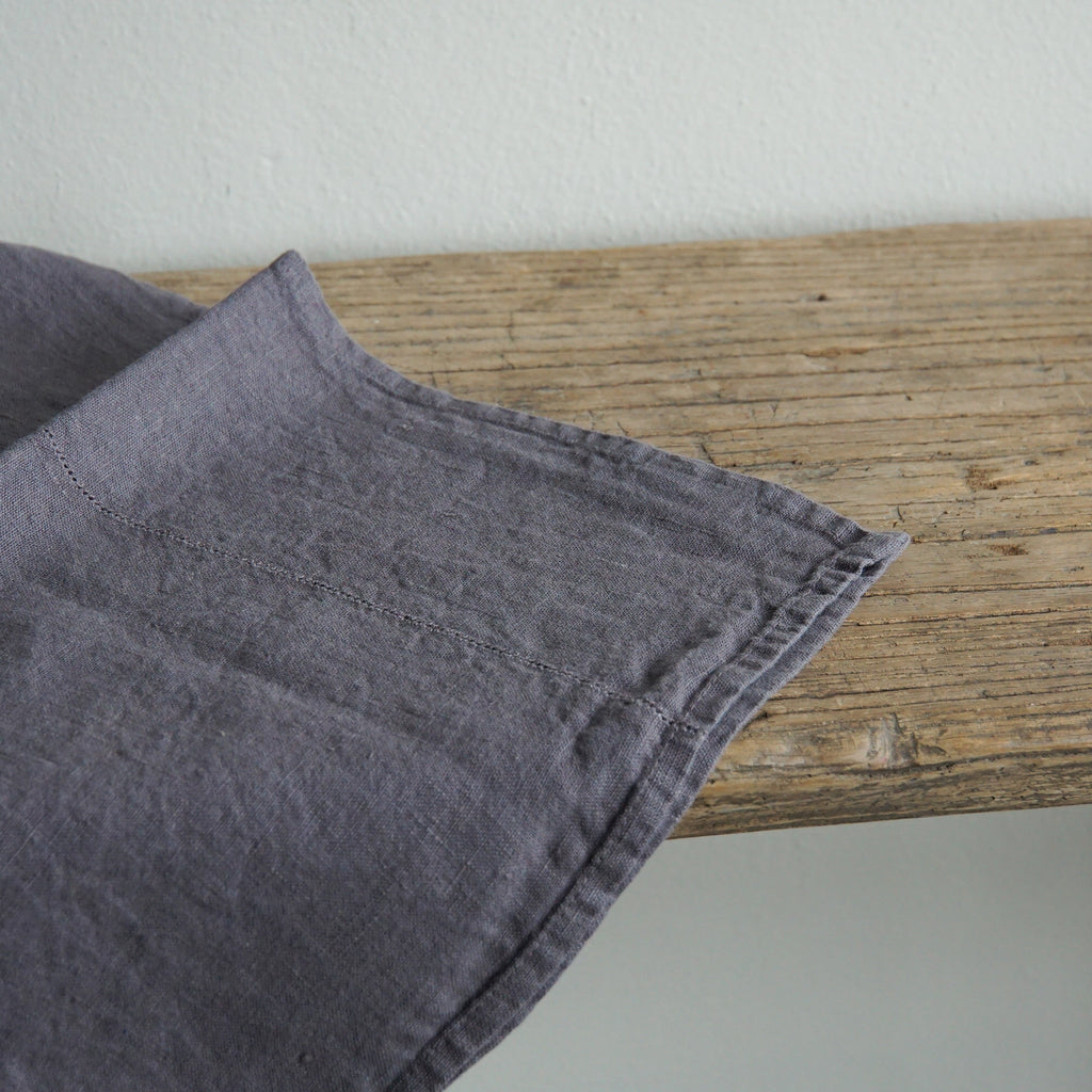 Linen Tea Towel -  Charcoal with Dot Hemstitch