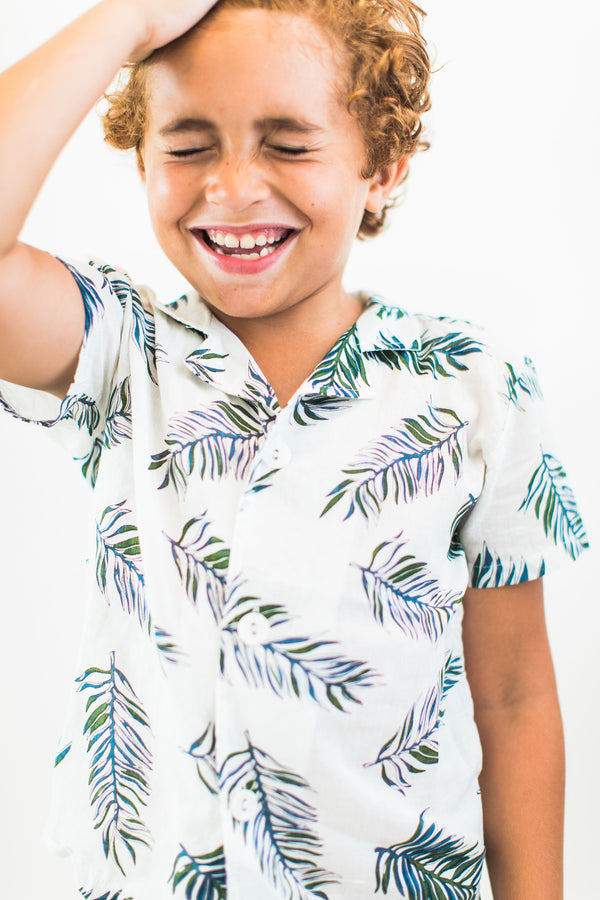Button Up Shirt with Palm Print