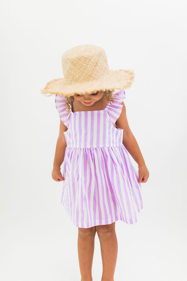 Candy Striped Purple Dress