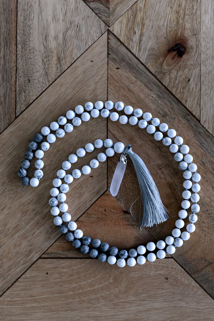 Japa Mala Necklace - White Howlite & Map Stone