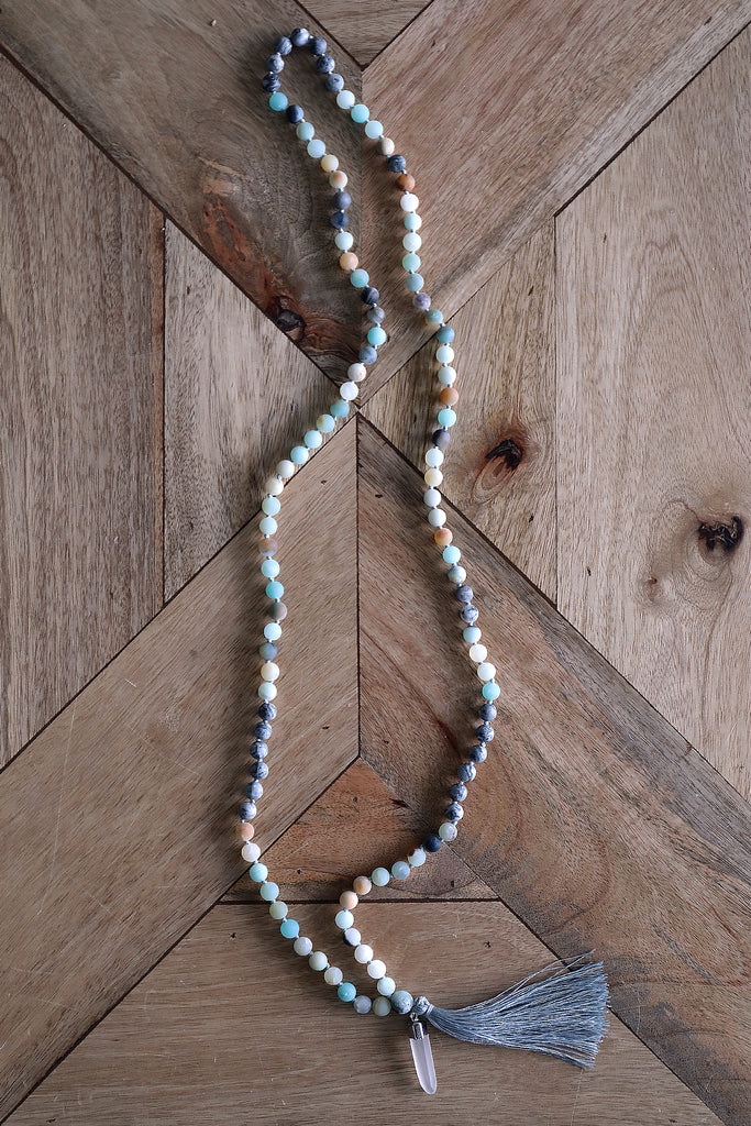 Japa Mala Necklace -  Amazonite & Map Stone