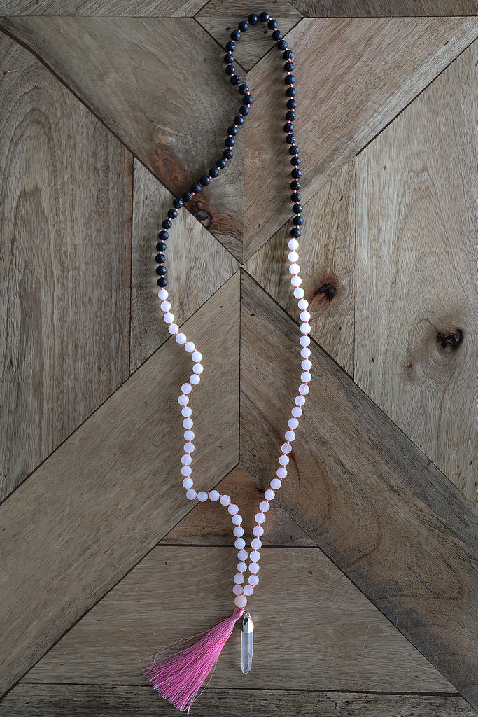 Japa Mala Necklace - Rose Quartz & Lava Stone