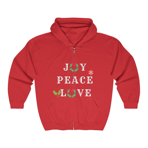 Joy. Peace. Love. Full Zip Hooded Sweatshirt