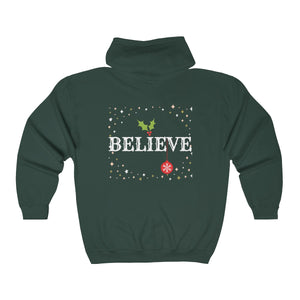 Merry Christmas/Believe Full Zip Hooded Sweatshirt
