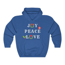 Load image into Gallery viewer, Joy. Peace. Love. Hooded Sweatshirt