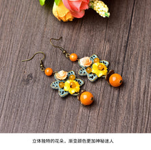 Load image into Gallery viewer, Vintage Alloy Resin Flower Earring