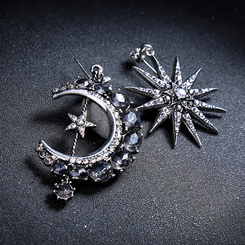 Asymmetric Crystal Star Moon Earrings