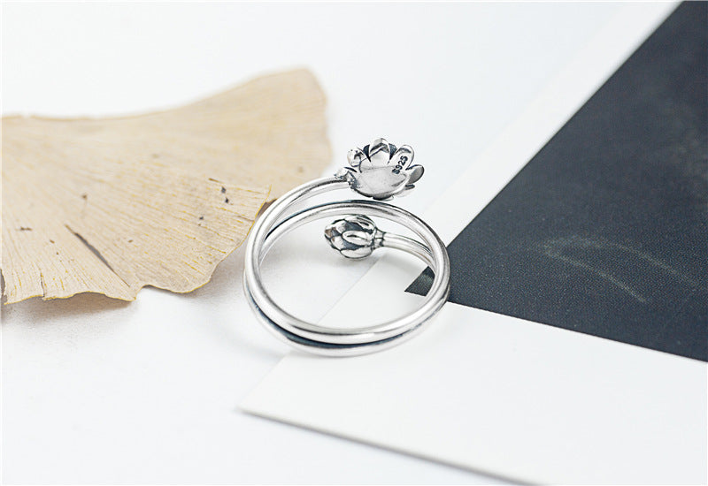 Silver Triple Wrap Lotus Ring