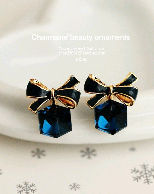 Shimmer bow knot Cubic Green Blue Crystal Earrings