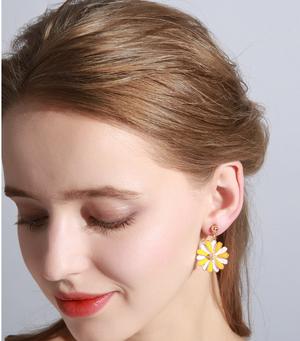 Yellow Flower Design Screw Clip On Earrings