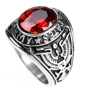 Men's Stainless Steel Eagle Army Ring with Oval CZ Stone