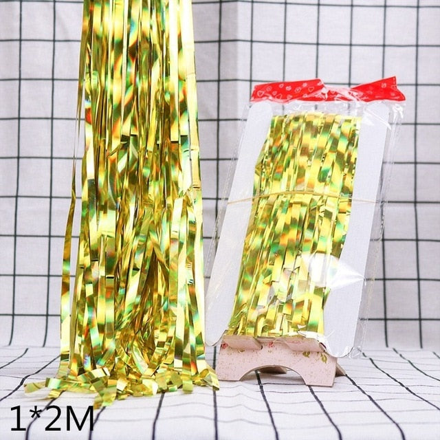 Gold Silver Metallic Foil Tinsel Fringe Curtain Birthday Party Decoration