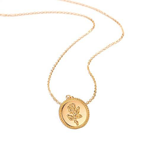 Gold Alloy Round Rose Flower Necklace