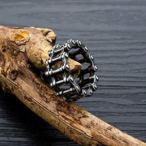Men Stainless Steel Ring Vintage Bike Chain Hollow Cool Male Rings