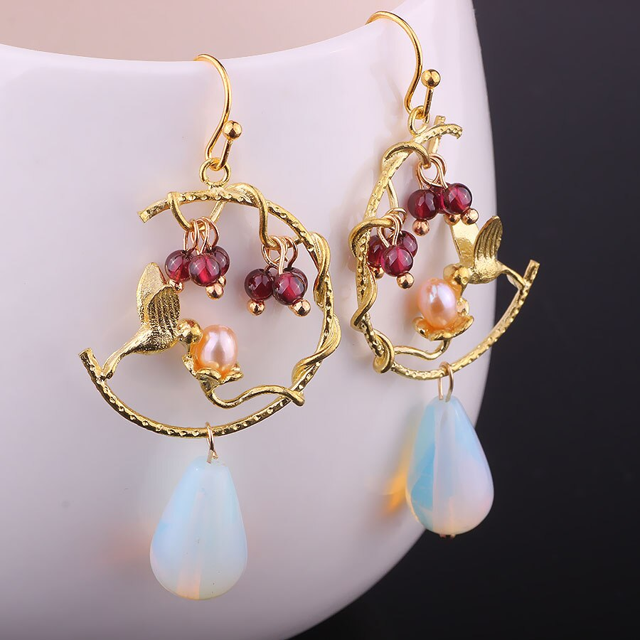 Opal Freshwater Pearl Earrings