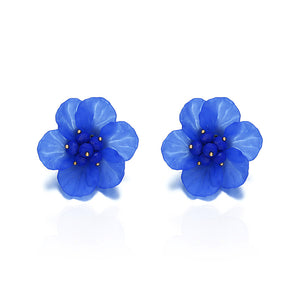 Bohemian Resin Blue Flower Stud Earrings