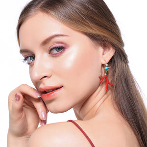Zinc Alloy Red Enamel Earrings