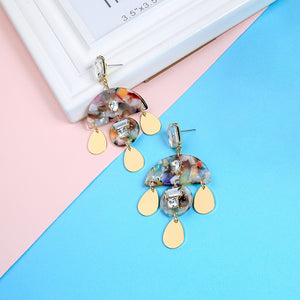 Geometric Round Semicircle Colorful Resin Sheet Drop Earrings