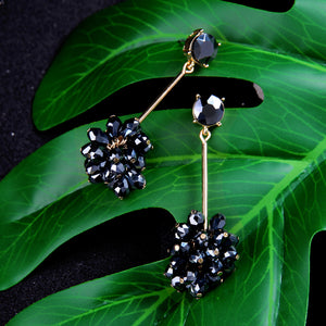 Glass Grape Bunches Drop Earrings