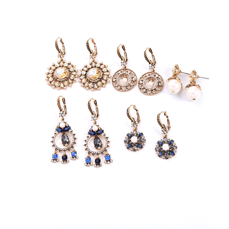 Luxury Crystal Glass Flower Acrylic Pearl Drop Earrings