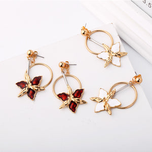 Enamel Flower Round Circle Drop Earrings