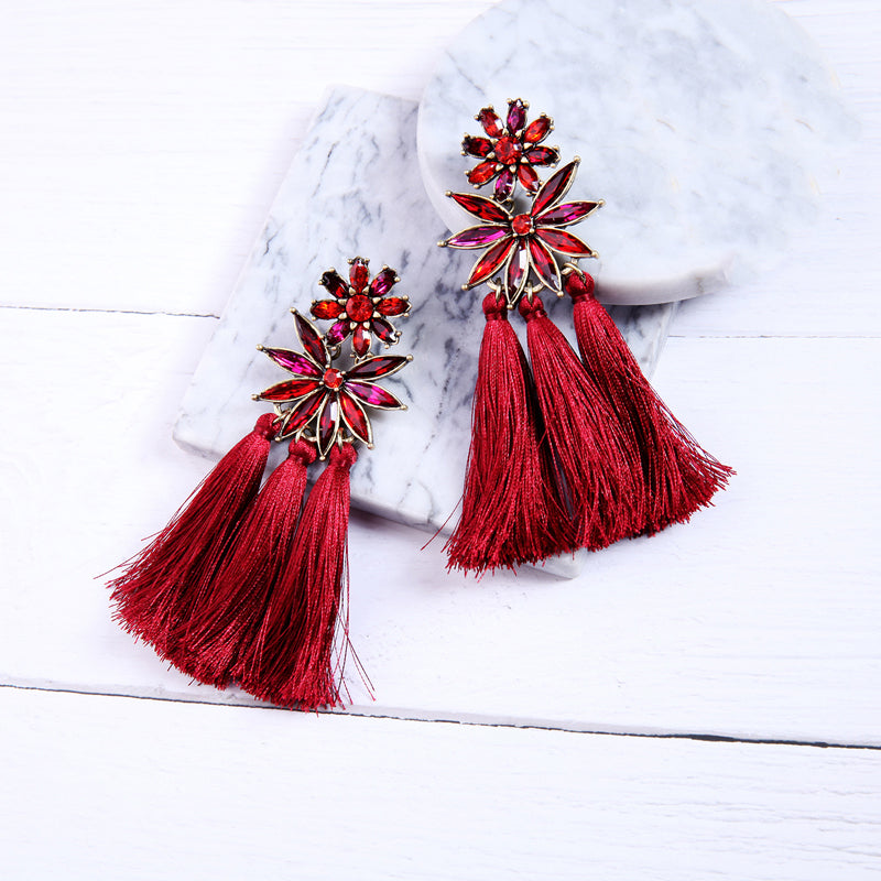 Bohemian Charming Red Cotton Earrings