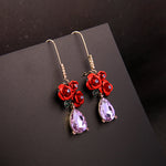 Exquisite Crystal Resin Red Roses Drop Earrings