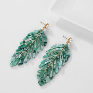 Leaf Acrylic Plant ZA Dangle Earrings
