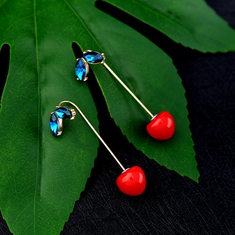 Red Resin Cherry Drop Earrings