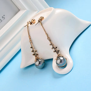 Exquisite Dark Color Acrylic Pearl Drop Earrings
