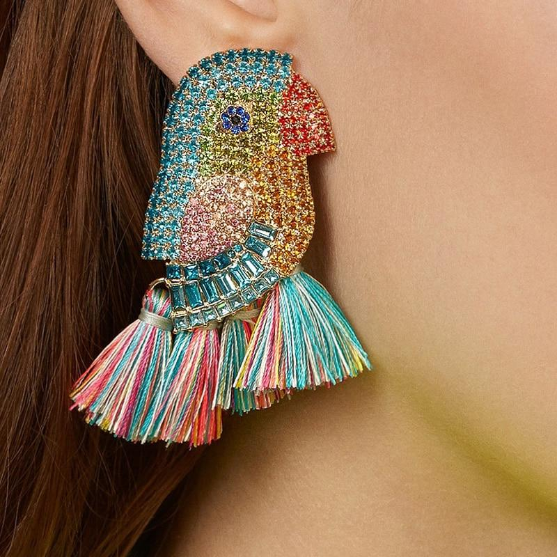Crystal Parrot Bird Drop Earrings
