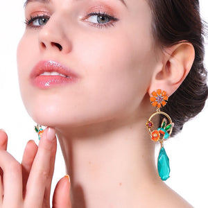 Colorful Flower Bird Earrings