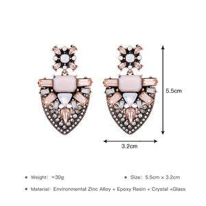 Pink Geometric Crystal Earrings
